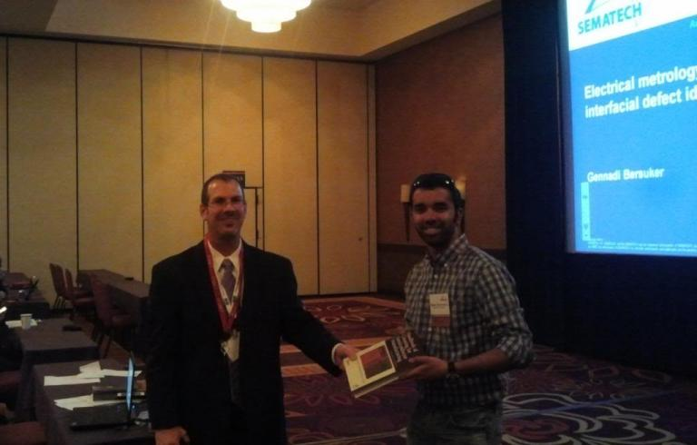 Rajesh Balachandran, pictured right, won Best Student Presentation at the 2014 SEMATECH Conference in Austin, TX.