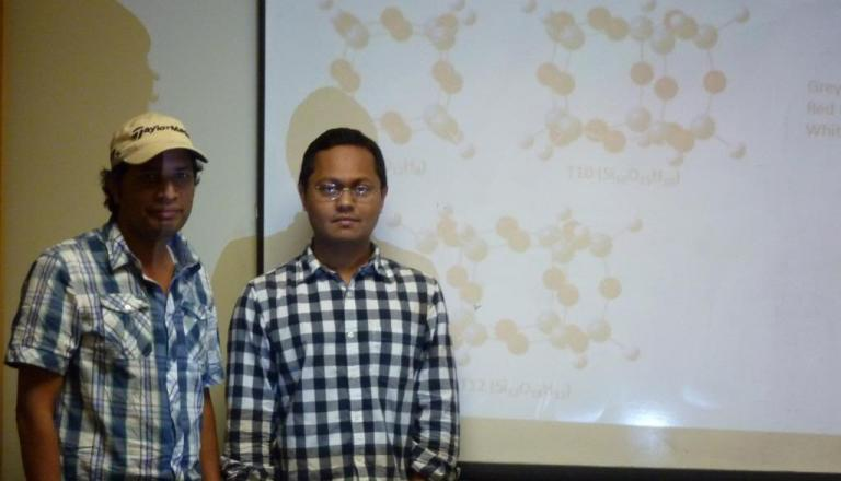 Abu Asaduzzaman, left, and Mohammad Rafat Sadat, right, presenting their research on geopolymers.