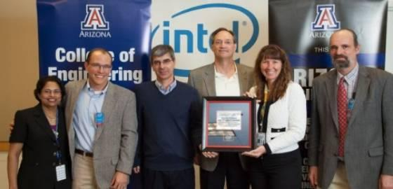 At a recent event, Intel presented the UA team with a framed memento to recognize the collaboration. Left to right: Lalita Rao, Brian McCarson, Pierre Deymier, Jim Baygents, Michelle St. Louis Weber, Jim Field
