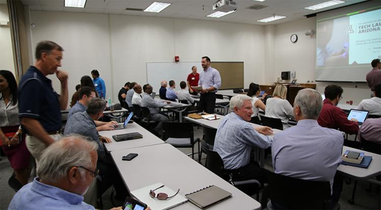 A gathering of stakeholders for I-Corps, one of Tech Launch Arizona's programs to prepare startup teams for success.