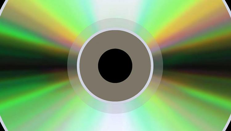 Close-up of the reflective side of a compact disc