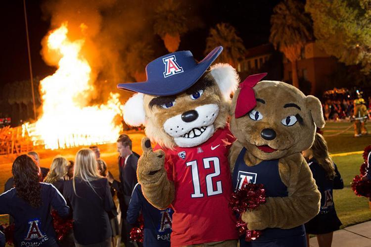 University of Arizona mascots, Wilber and Wilma Wildcat at Homecoming bonfire rally